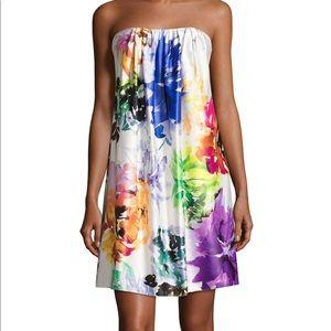 Strapless floral print short dress